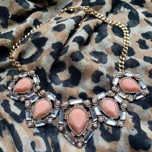 "Jewelry - Peach stone & ""Diamond"" necklace"